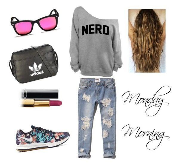 """""""Tomorrow at work!"""" by cozyncomfy on Polyvore featuring Abercrombie & Fitch, NIKE, adidas, Ray-Ban and Chanel"""