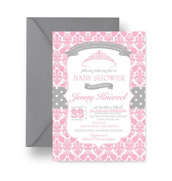 Princess Baby Shower Invitation Pink Damask by #PaperCleverParty #princesbabyshower #invitationsbabygirl #pinkprincessinvites #whimsicalinvitation