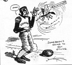 """Somebody's going to get stung."" The 1906 cartoon depicts a UGA football player being attacked by a yellow jacket. This is the first instance that the Georgia Tech sports teams were officially referred to at Georgia Tech Yellow Jackets, after John Heisman stated he only wanted his team referred to as Yellow Jackets in a 1905 interview with the Atlanta Journal Constitution. Former names of the team include the Golden Tornadoes, the Ts, the Engineers and the Blacksmiths."