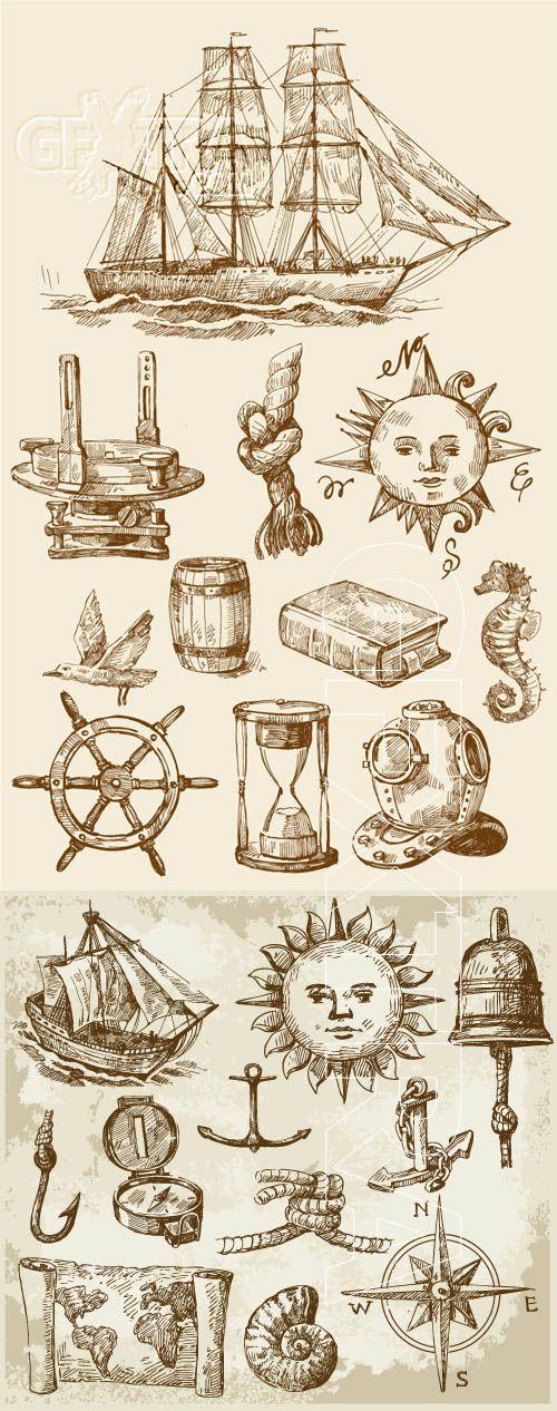 Vintage nautical design elements