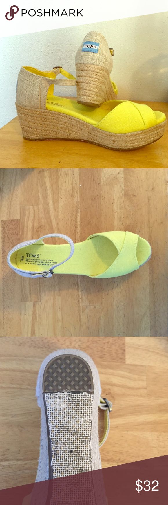 NWT 👟 TOMS yellow wedge These brand new never worn TOM wedges are adorable with a peep toe front and a 3 in wedge measured at the heel.  Size 8M TOMS Shoes Wedges