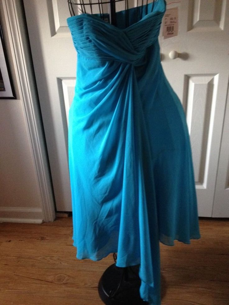 Ladies Formal Dress Size 4 Turquoise Bridesmaid Strapless  David's Bridal prom  | eBay