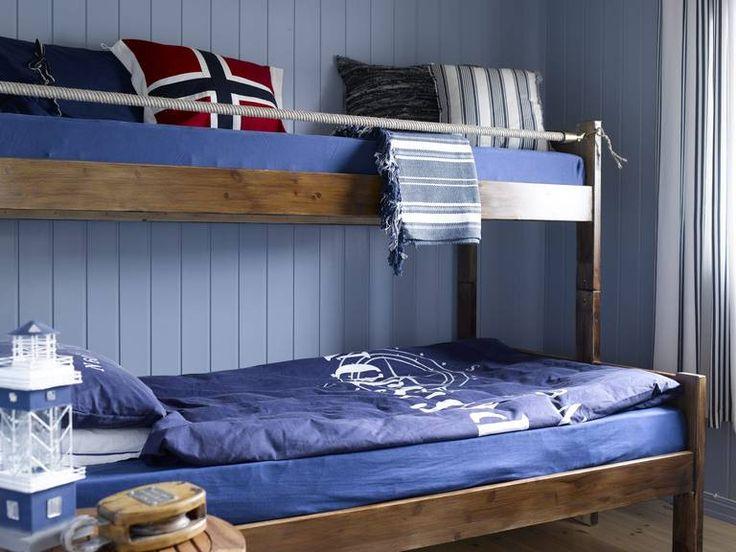 Maritimt: det mraitime soverommet har gjennomgående bruk av blått ...