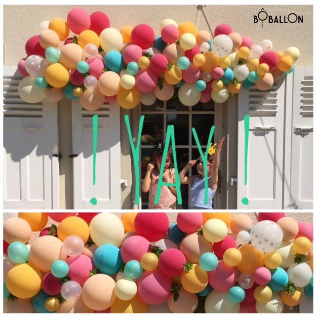 Décoration de ballons originale: arche de ballons colorée ☀️