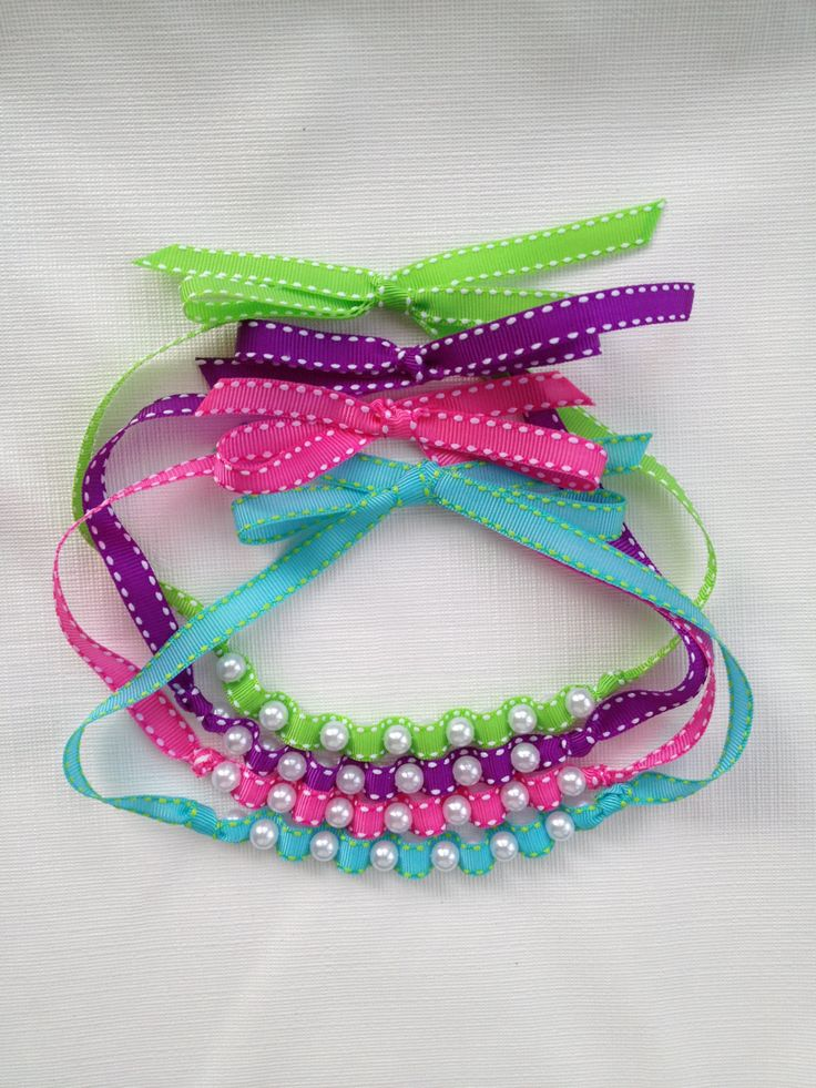 Edge-stitched Ribbon and Pearl Necklace Groupings - Perfect for Girls' Party favors