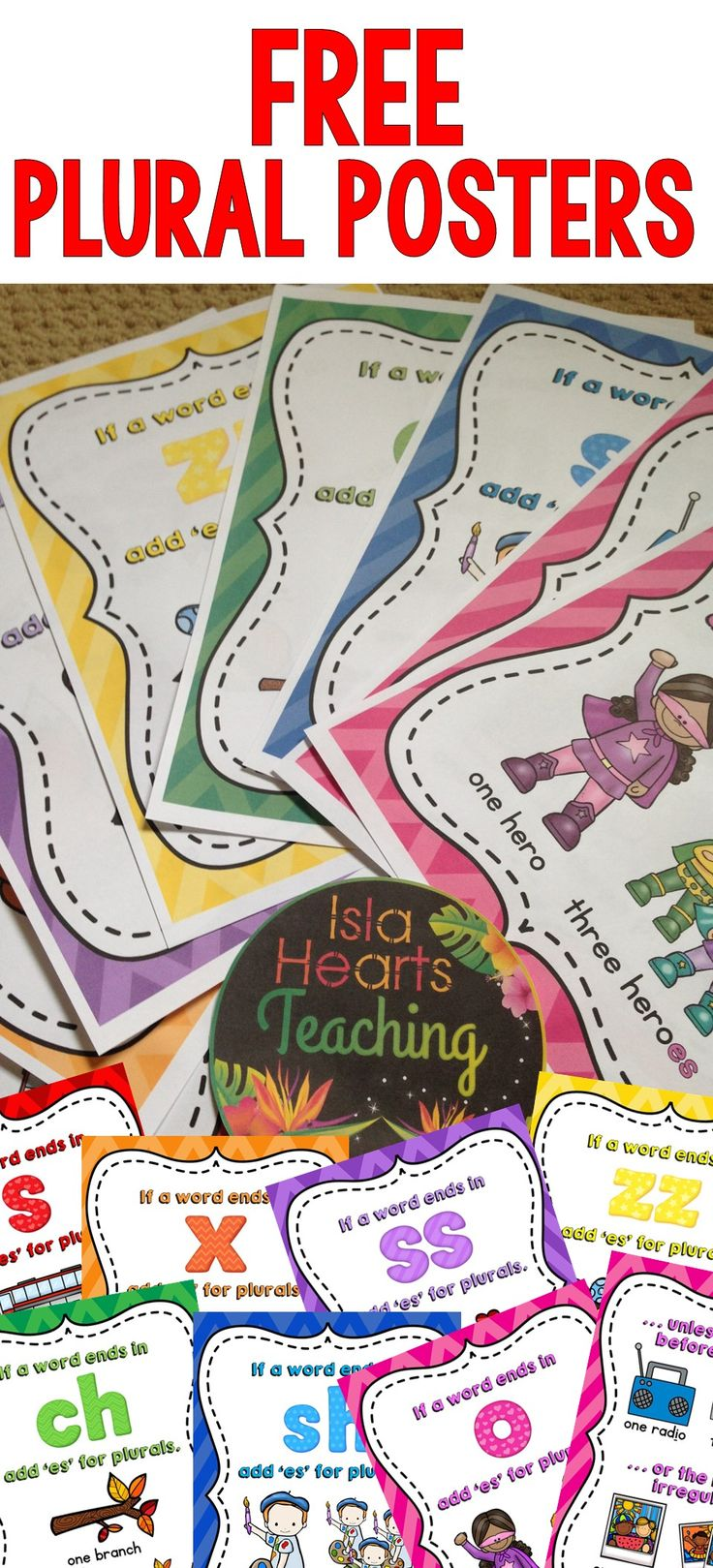 FREE plural posters (classroom décor and bulletin board ideas for spelling and grammar) #islaheartsteaching