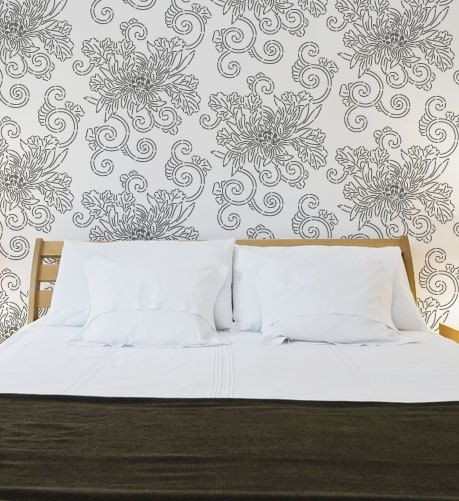 Large Wall Stencil Pattern- Allover Japanese Chrysanthemum Stencil for  Elegant DIY Wall Decor