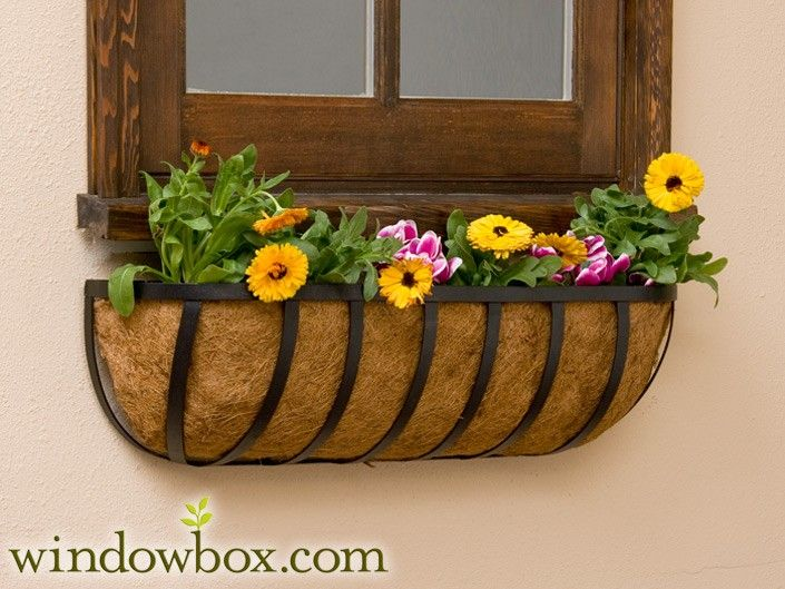 """English Garden Window Basket w/ Coco Liner >> 30"""" for $ 35 >> These are very cute. Would be lovely in my backyard."""