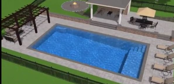 simple, modern, rectangle pool with pergola