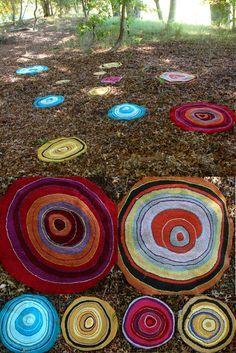 hooked rugs made with tee shirt strips.. beautiful!