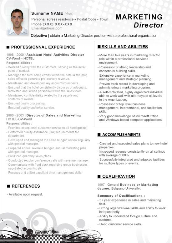 click here to this word resume marketing director