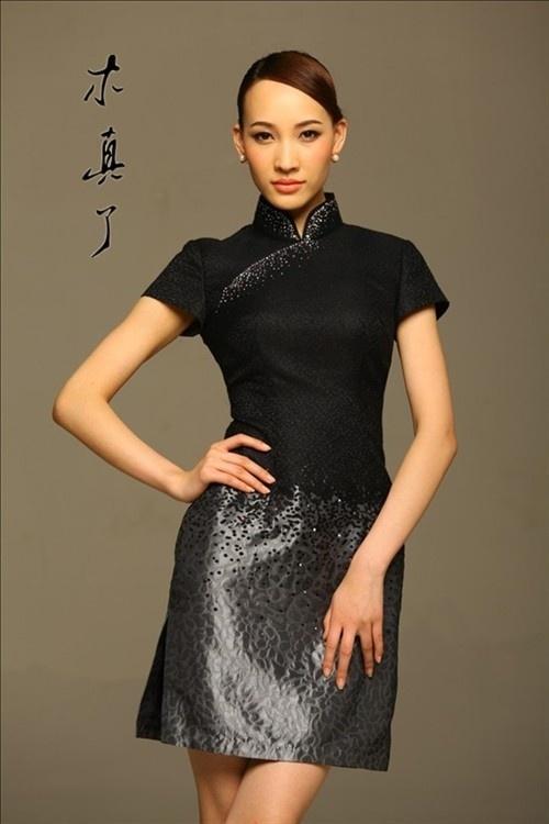 Black silk. Luxury Gradient Black Qipao Dress