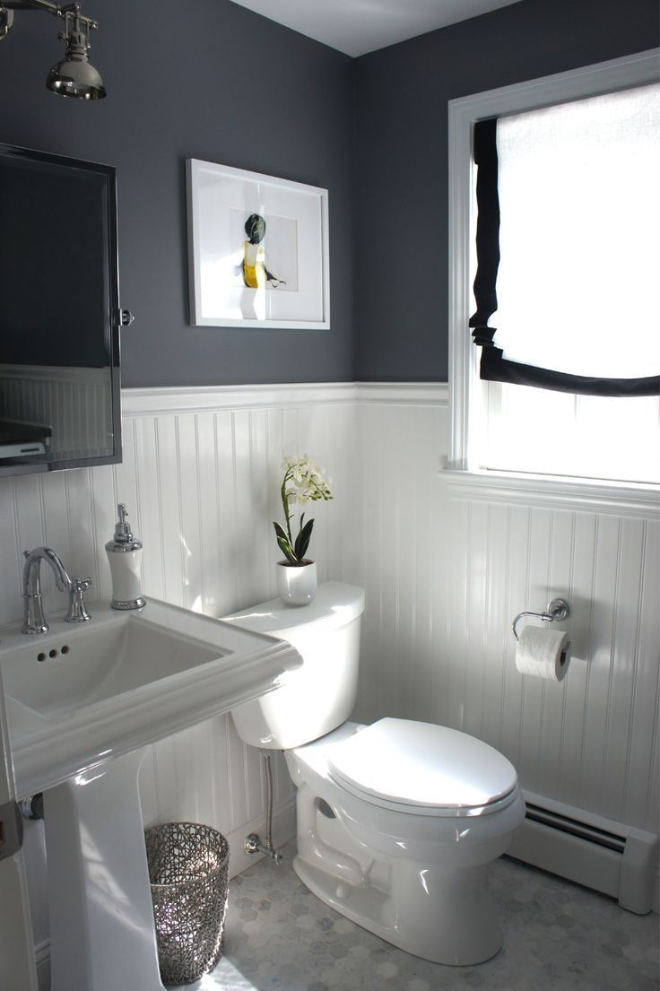 Small, bead board, dark grey, silvery fixtures.  Clean and simple