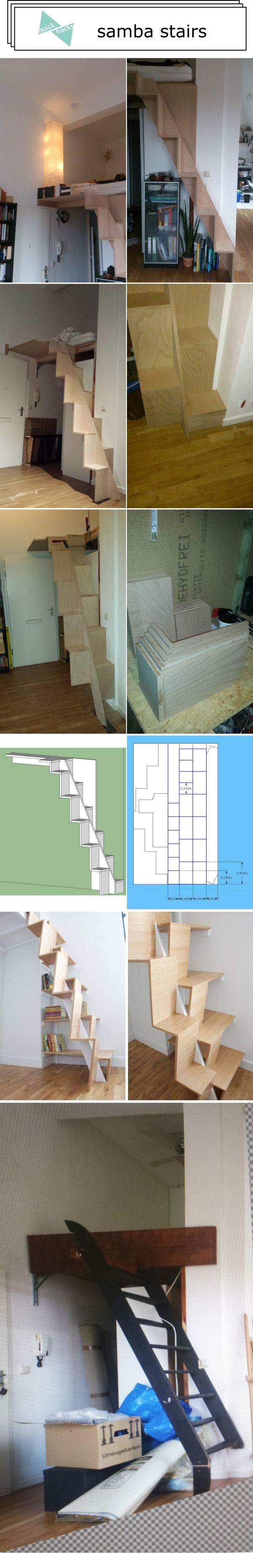 quickhacks.de - samba stairs - diy stairs - stairs of loft bed - Sambatreppe - Hochbett - Raumspartreppe