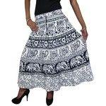 Mogul Womens Skirts White Animal Print Boho Festival Indian Skirt