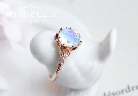 Moonstone Engagement Ring, Vintage Floral Ring in Rainbow Moonstone, Available in 14K Gold, 18K Gold, or Platinum, R2001