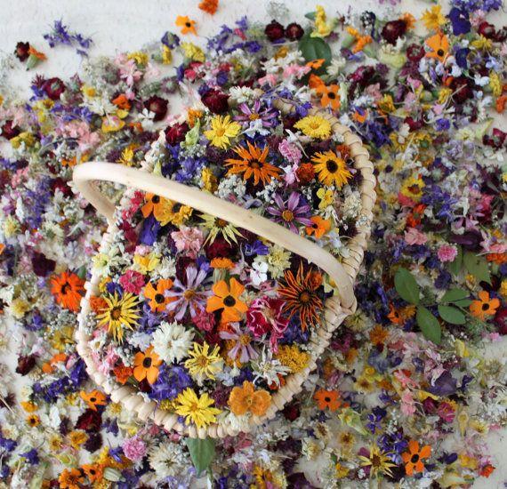 Dried Flowers Winter Wedding Confetti Flowers by LarkspurHill