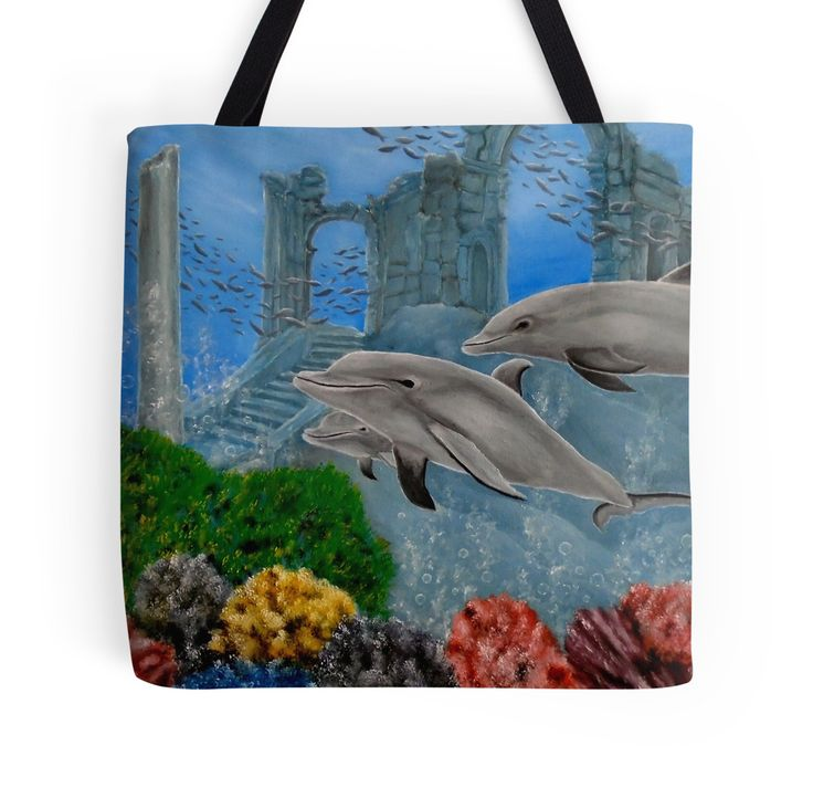 Tote Bag,   aqua,blue,cool,beautiful,fancy,unique,trendy,artistic,awesome,fahionable,unusual,accessories,for sale,design,items,products,gifts,presents,ideas,dolphins,wildlife,redbubble