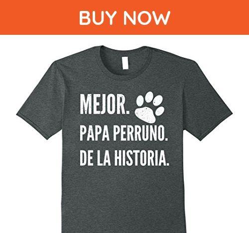 Mens Mejor Papa Perruno de la Historia T-shirt - Dia del Padre Medium Dark Heather - Relatives and family shirts (*Amazon Partner-Link)