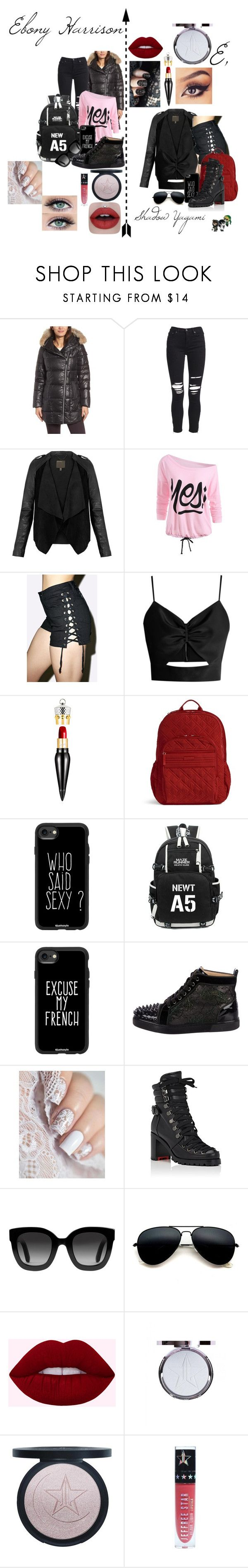 """""""Ebony 'E' Harrison"""" by ticciboby-thekiller-drowned on Polyvore featuring Andrew Marc, AMIRI, MuuBaa, Racil, Christian Louboutin, Vera Bradley, Casetify, Gucci and Jeffree Star"""