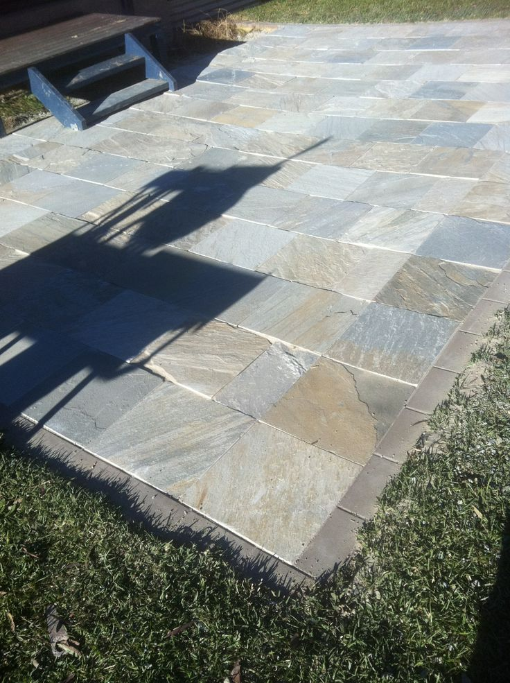 Paving: Patio Landing. Paving Product: Natural Stone 400 X 400 X 30mm.