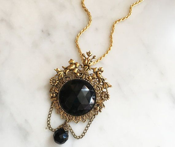 Vintage 60s Black Rhinestone Filigree Pendant Necklace Vintage Jewelry 1960s