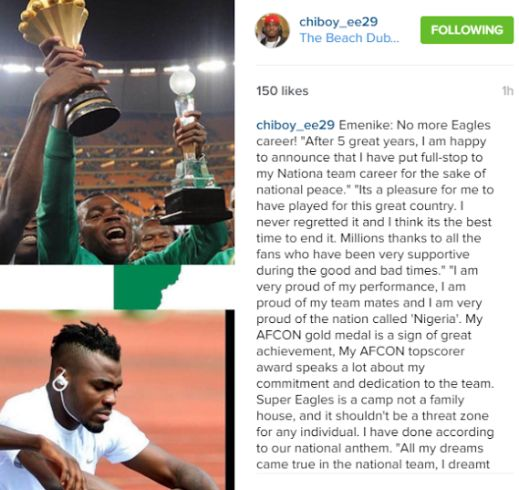Not again! Emmanuel Emenike announces his retirement from Super Eagles - http://www.thelivefeeds.com/not-again-emmanuel-emenike-announces-his-retirement-from-super-eagles/