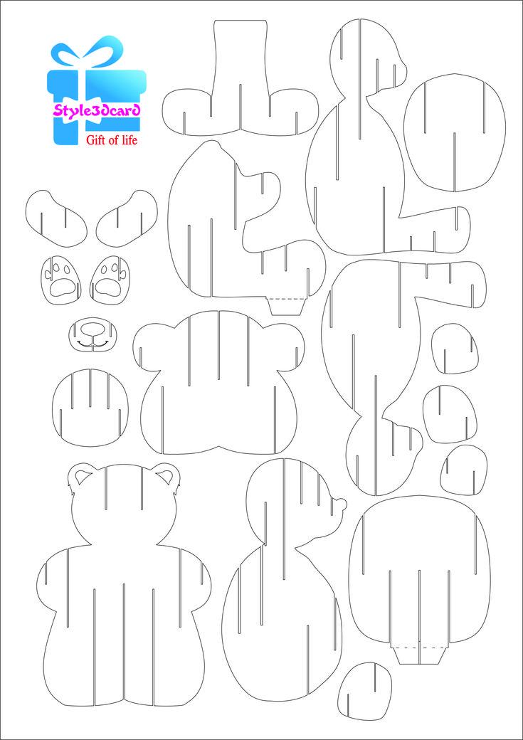 Fall Bear Pop Up Card greeting card/Pattern kirigami 2