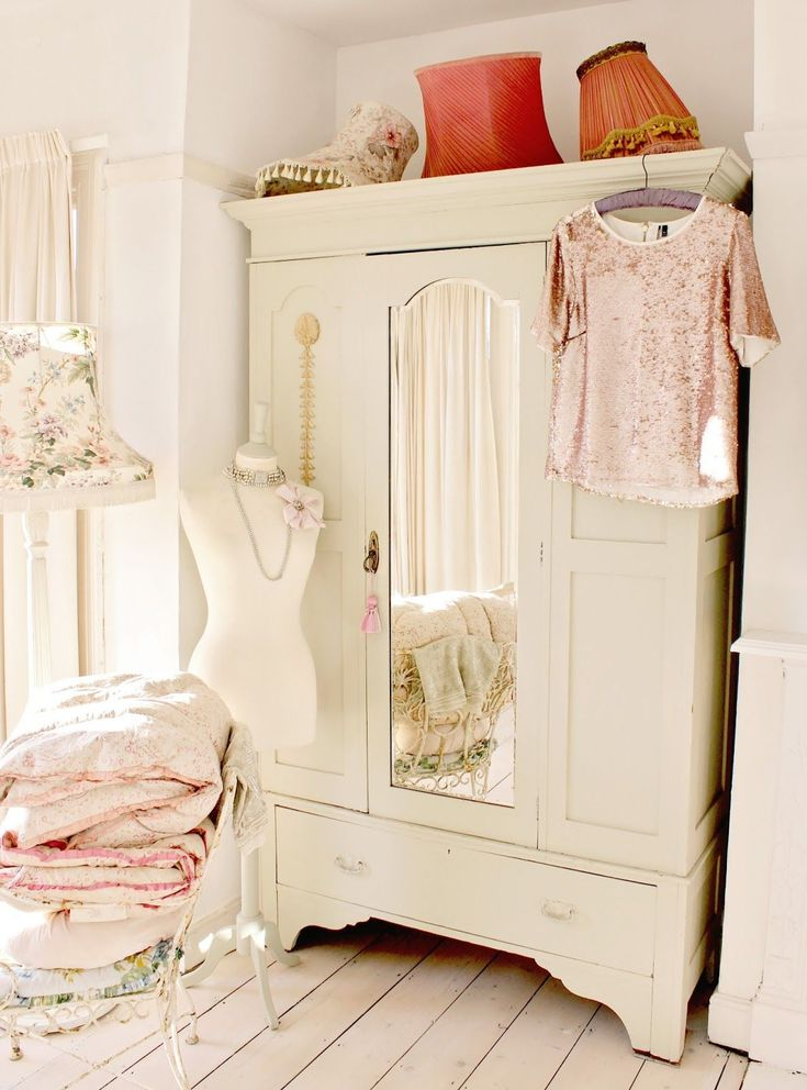 White shabby chic wardrobe  For similar  furniture and home accessories visit  Www. Melodymaison.co.uk