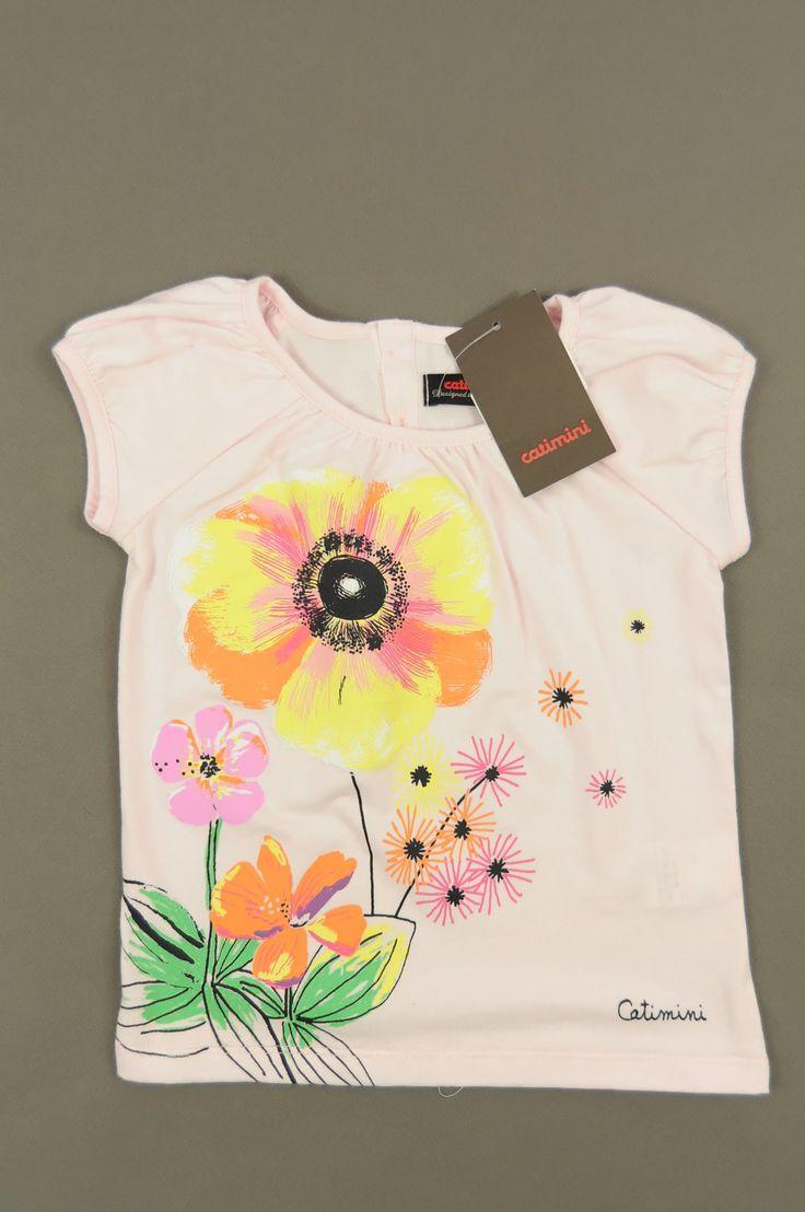 T-shirt fleurs de la marque Catimini en taille 3 ans - Affairesdeptits vetement occasion enfant bebe pas cher