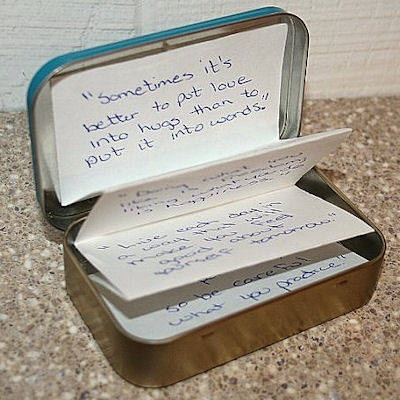 Keep inspirational quotes in your Sucrets tin for an uplifting reminder at any time. This is an awesome craft idea!