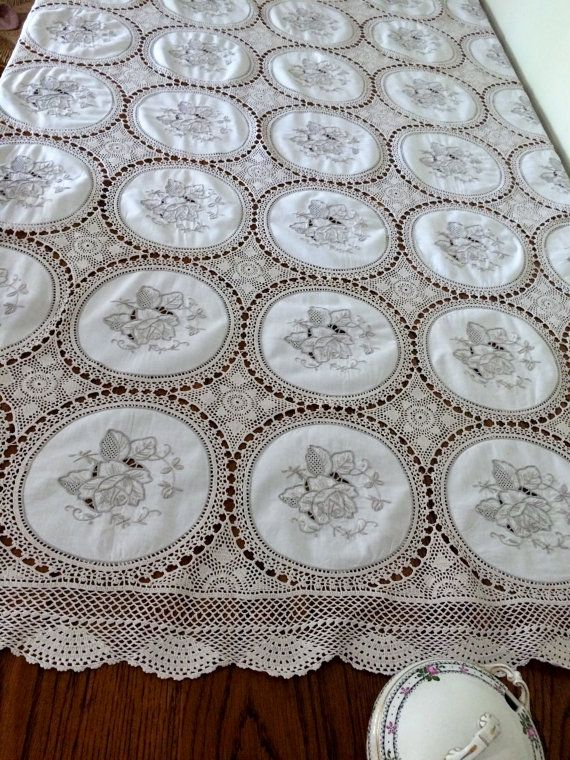 Embroidered Linen and Crochet Lace Vintage Tablecloth. Large Ivory and Ecru Oblong Embroidered Linen Tablecloth with Crochet Lace. RBT1121