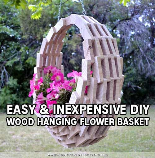 Easy & Inexpensive DIY Pieced Wood Hanging Flower Basket
