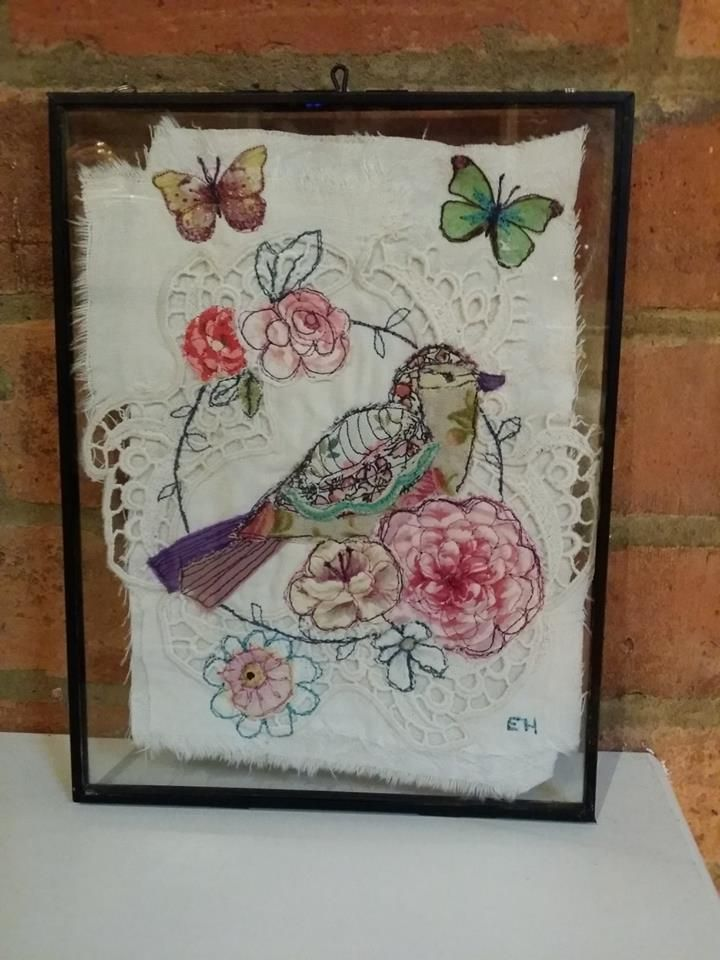 Emily Henson Applique bird and flowers vintage upcycled fabrics hinged frame www.facebook.com/bibliboo