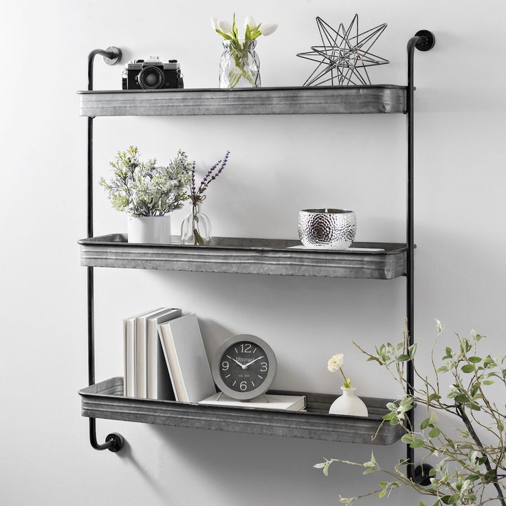 Product Details Galvanized Metal 3 Tier Wall Shelf