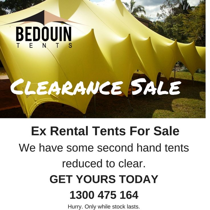 Don't forget our clearance sale of some of our pre-loved stretch tents that have so much life still left in them.  Perfect for those looking for a bargain.  Hurry, stocks are limited.