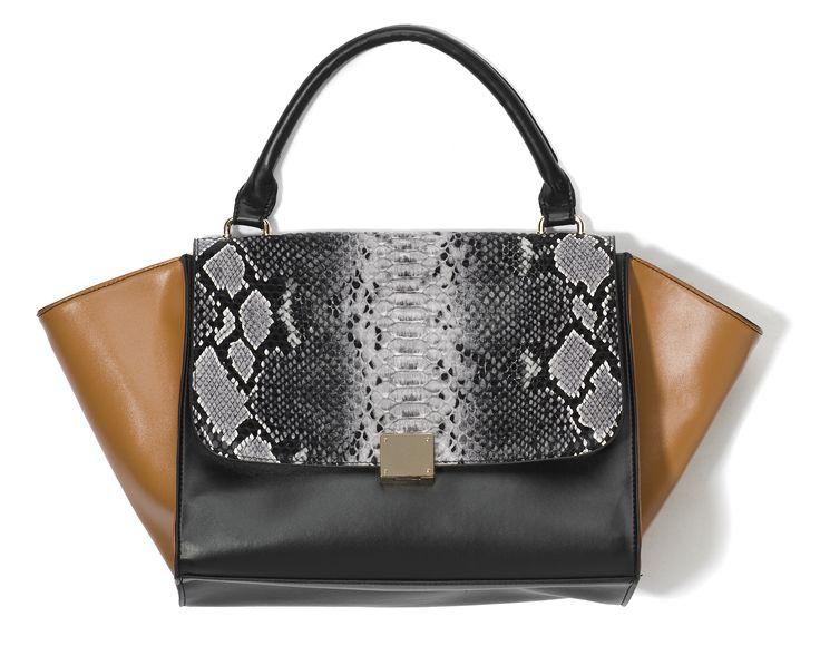 ib-h0, czarno-beżowa skórzana torebka z wężowym wzorem