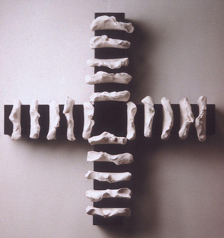 "Death Cross | Theodore Prescott Death Cross 1985. painted steel, clay (36"" x 36"" x 9"", max. relief 8"")"