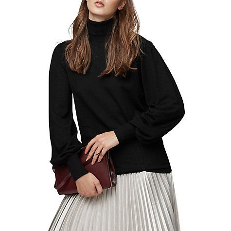 Buy Reiss Caroline Merino Wool Roll Neck Jumper, Black Online at johnlewis.com