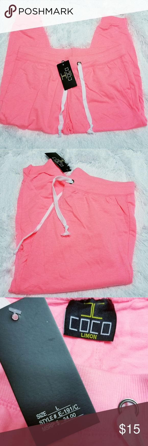 COCO Limon sweat Pink capri pants In great Condition, really bright Neon Pink color Coco Limon Pants Capris