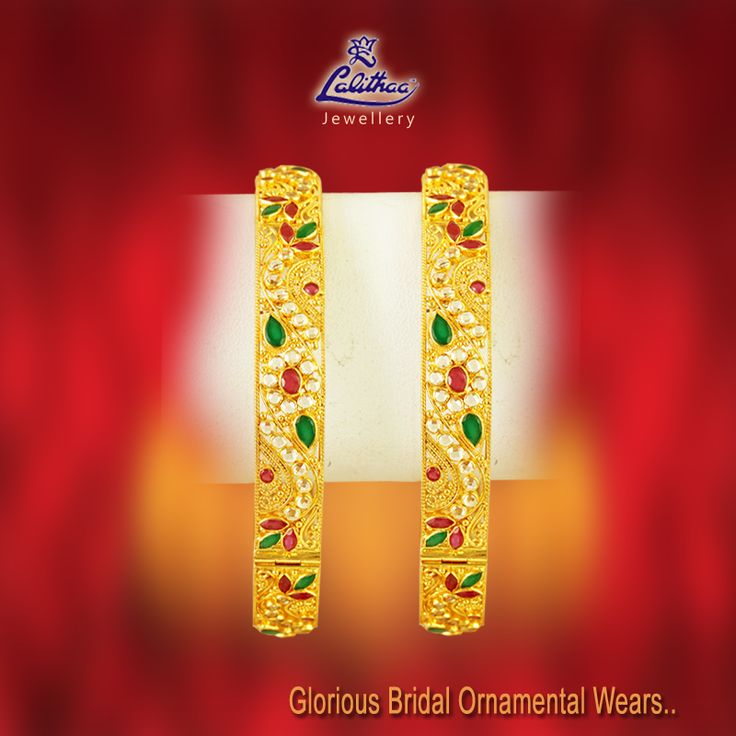 Wearing on this Bangle studded with red and green primary colours would match you on any colour of dress you change during wedding functions. #LalithaaJewellery.