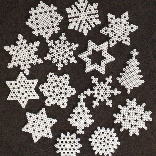 Snowflakes and winter ornaments perler beads by mina_fina_saker