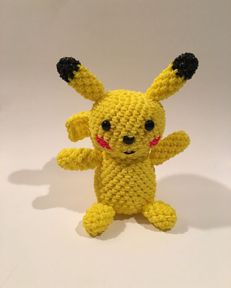 Pikachu (Pokémon) Rubber Band Figure, Rainbow Loom Loomigurumi, Rainbow Loom Character by BBLNCreations on Etsy Loomigurumi Amigurumi Rainbow Loom