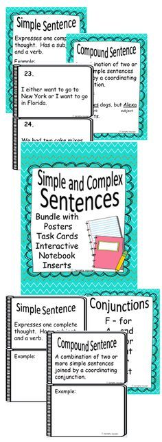 Do you need and all in one bundle to teach and practice simple and complex sentences? Here it is! This is a complete unit to reinforce Simple and Complex Sentences and Conjunctions. Included are the following: Simple Sentence Poster with example Complex Sentence Poster with example Conjunctions Acronym Poster 24 Task Cards or Scoot with Answer Sheet Simple Sentence Interactive Notebook Inserts Complex Sentence Interactive Notebook Inserts