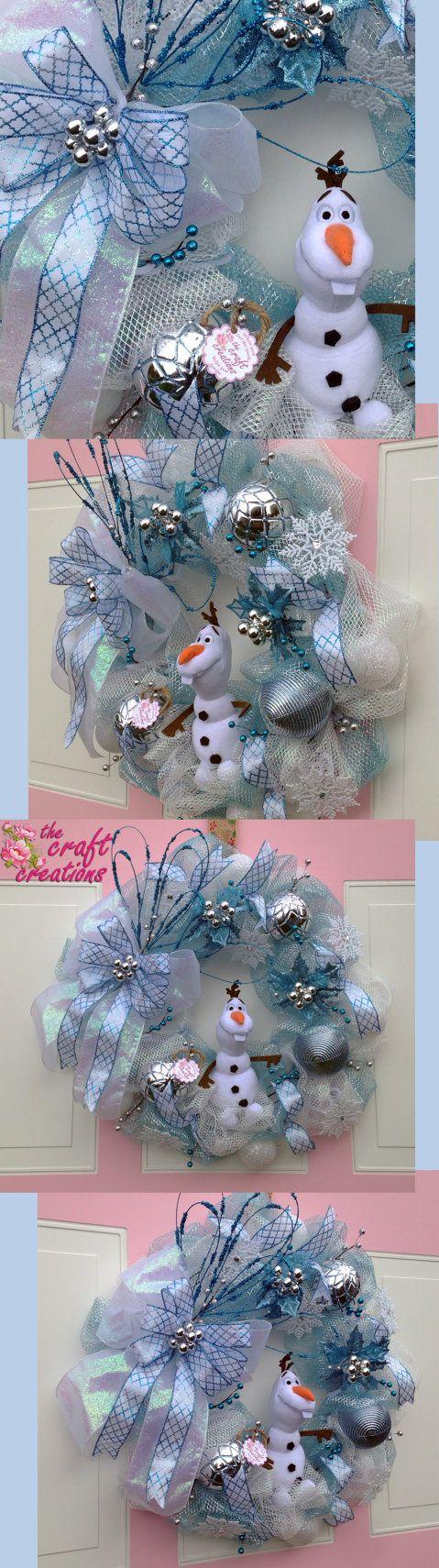 OLAF of DISNEY FROZEN wreath by TheCraftCreation on Etsy https://www.etsy.com/listing/254091935/olaf-of-disney-frozenwreath-blue-and