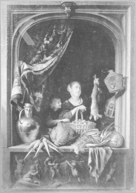 Gerrit Dou: jonge vrouw met jachtbuit en groente; gezien door een venster. ca. 1628 - 1675. Stichting Nederlands Kunstbezit?