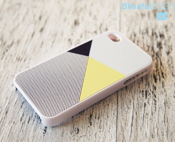 iphone 4 case lemon black color block with stripe by BlissfulCASE. $14.99 USD, via Etsy.