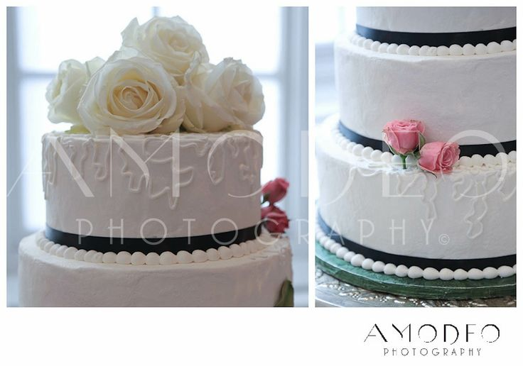 Ivory Wedding cake with black ribbon and light chantilly lace piped designs, ivory rose wedding cake topper, pale pink rosebud wedding cake decoration, ivory & pale pink wedding idea, simple elegant wedding cake, buttercream icing wedding cake decoration, Roanoke Virginia Wedding photographer
