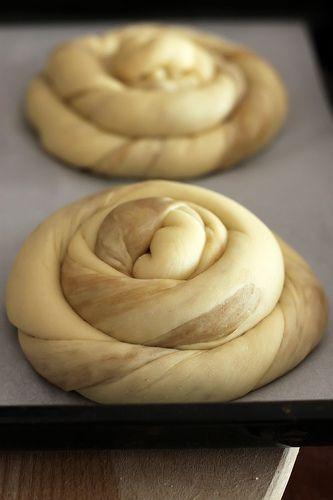 Tahnli pide, a sweet tahini filled roll, recipe.