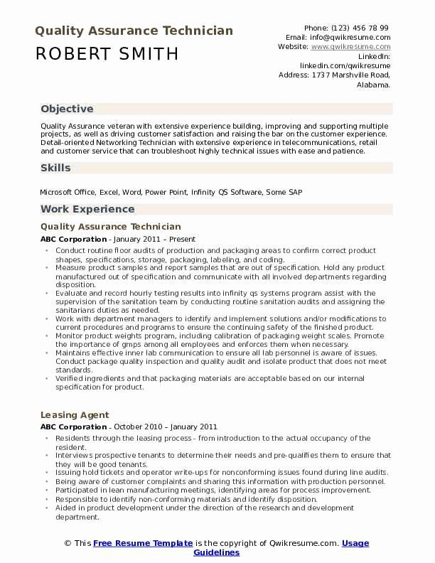 Quality Control Resume Examples Lovely Quality Assurance Technician Resume Samples Sales Resume Examples Resume Objective Resume Examples